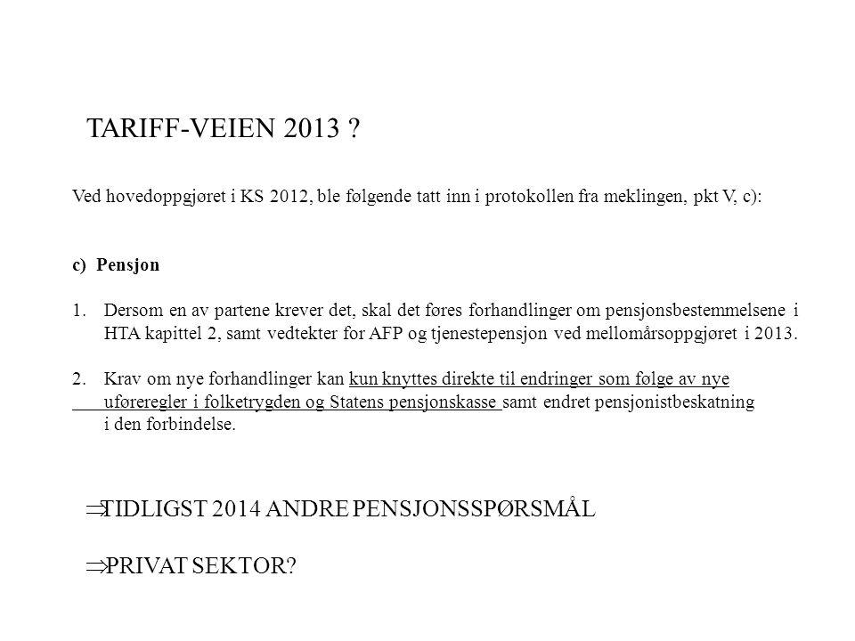 Ved hovedoppgjøret i KS 2012, ble følgende tatt inn i protokollen fra meklingen, pkt V, c): c) Pensjon 1.Dersom en av partene krever det, skal det føres forhandlinger om pensjonsbestemmelsene i HTA kapittel 2, samt vedtekter for AFP og tjenestepensjon ved mellomårsoppgjøret i 2013.