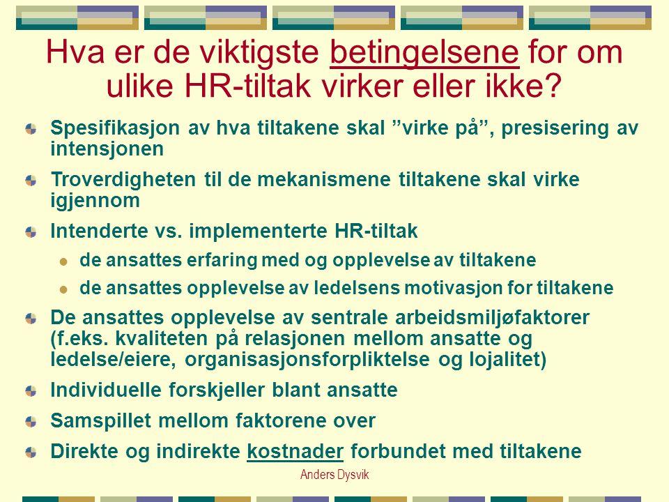 """Anders Dysvik Hva er de viktigste betingelsene for om ulike HR-tiltak virker eller ikke? Spesifikasjon av hva tiltakene skal """"virke på"""", presisering a"""