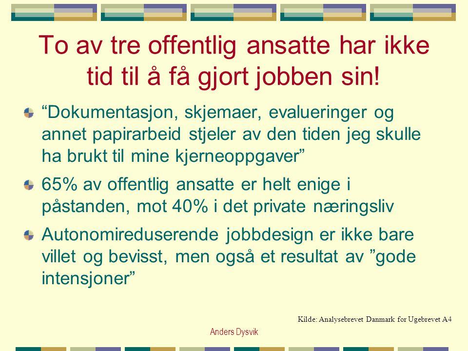 """Anders Dysvik To av tre offentlig ansatte har ikke tid til å få gjort jobben sin! """"Dokumentasjon, skjemaer, evalueringer og annet papirarbeid stjeler"""