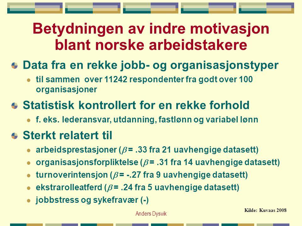 Anders Dysvik Betydningen av indre motivasjon blant norske arbeidstakere Data fra en rekke jobb- og organisasjonstyper  til sammen over 11242 respond