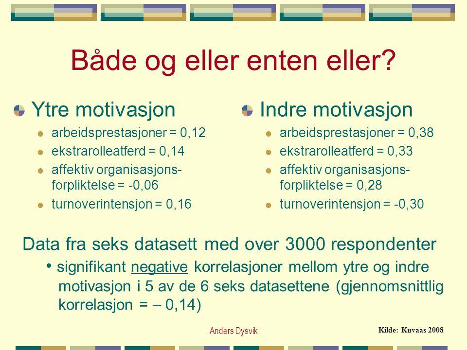 Anders Dysvik Både og eller enten eller? Ytre motivasjon  arbeidsprestasjoner = 0,12  ekstrarolleatferd = 0,14  affektiv organisasjons- forpliktels