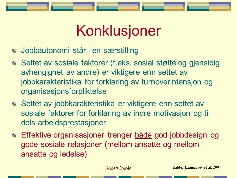 Anders Dysvik Konklusjoner Jobbautonomi står i en særstilling Settet av sosiale faktorer (f.eks. sosial støtte og gjensidig avhengighet av andre) er v