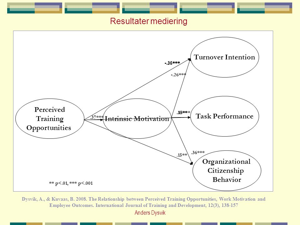 Resultater mediering Perceived Training Opportunities Organizational Citizenship Behavior Task Performance Turnover Intention Intrinsic Motivation.37*