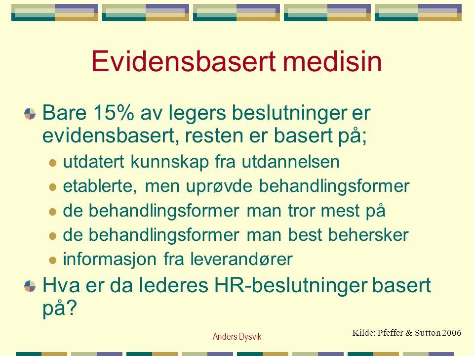 Anders Dysvik Evidensbasert medisin Bare 15% av legers beslutninger er evidensbasert, resten er basert på;  utdatert kunnskap fra utdannelsen  etabl