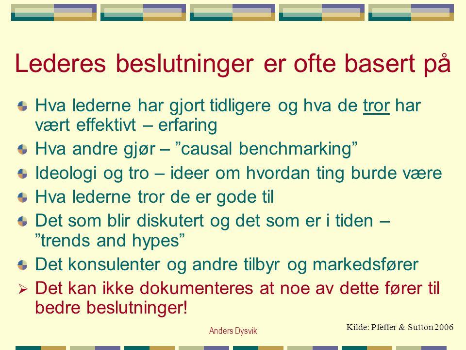 """Anders Dysvik Lederes beslutninger er ofte basert på Hva lederne har gjort tidligere og hva de tror har vært effektivt – erfaring Hva andre gjør – """"ca"""