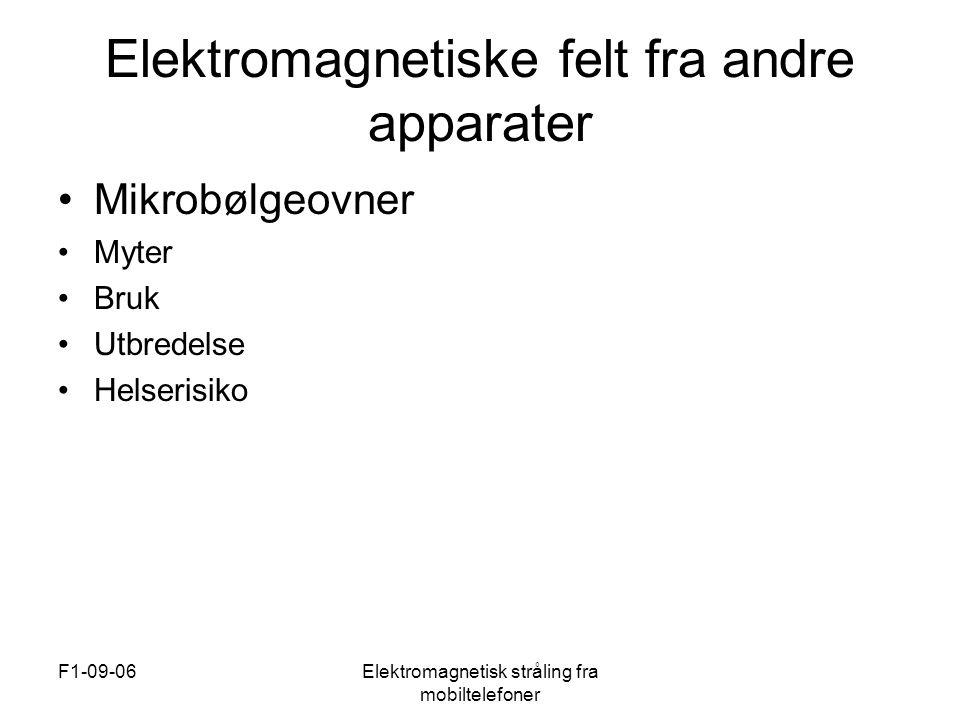 F1-09-06Elektromagnetisk stråling fra mobiltelefoner Elektromagnetiske felt fra andre apparater •Mikrobølgeovner •Myter •Bruk •Utbredelse •Helserisiko