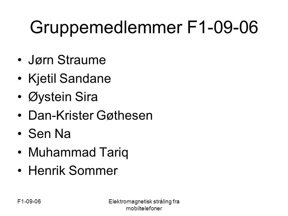 F1-09-06Elektromagnetisk stråling fra mobiltelefoner Konklusjon •Ingen beviste skadeeffekter ved normal bruk av mobiltelefon •Anbefaler handsfri •Mikrobølgeovn •Data •Varmekabler