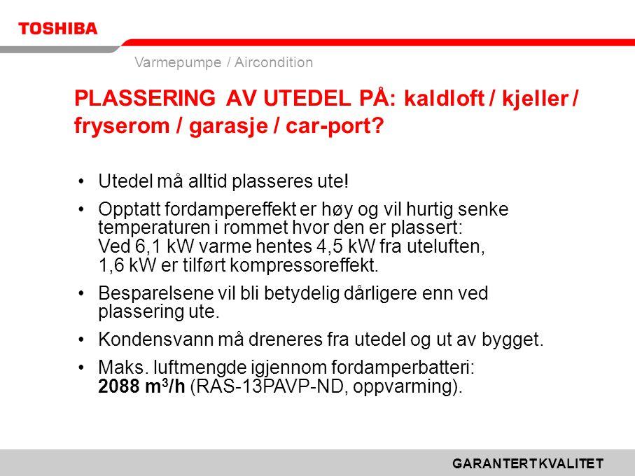 GARANTERT KVALITET Varmepumpe / Aircondition PLASSERING AV UTEDEL PÅ: kaldloft / kjeller / fryserom / garasje / car-port.