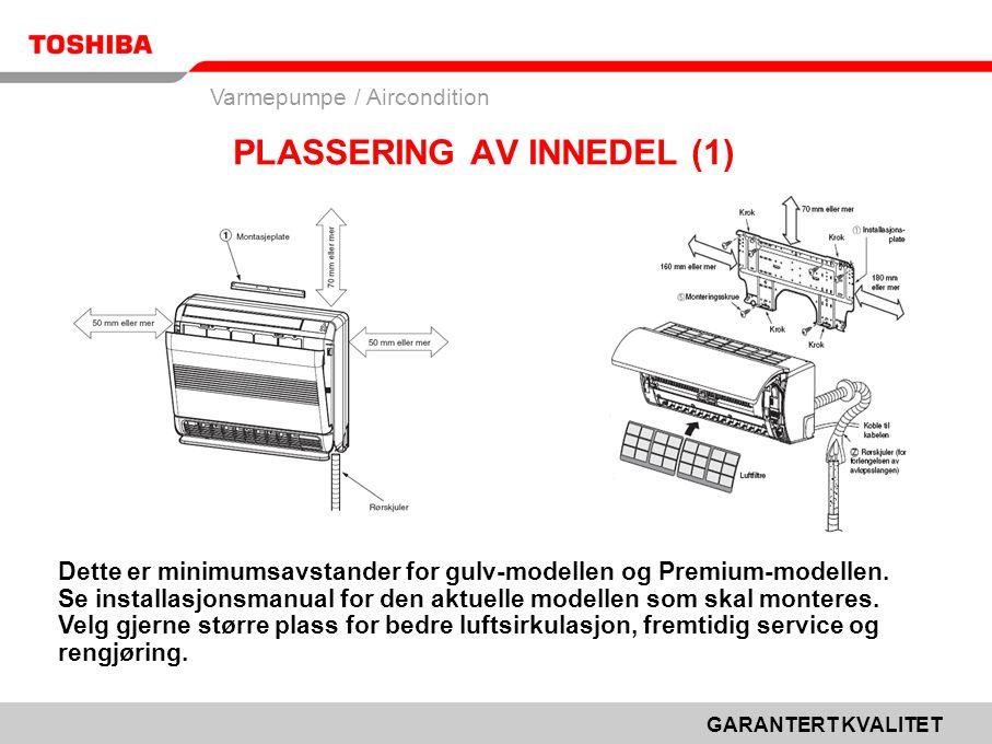 GARANTERT KVALITET Varmepumpe / Aircondition Dette er minimumsavstander for gulv-modellen og Premium-modellen.