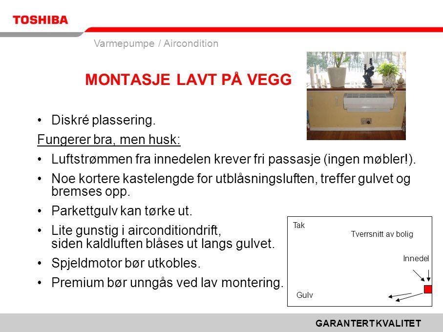 GARANTERT KVALITET Varmepumpe / Aircondition MONTASJE LAVT PÅ VEGG •Diskré plassering.