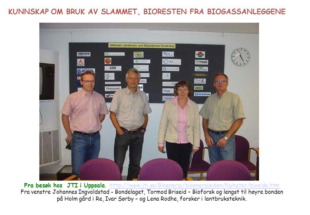 Fra besøk hos JTI i Uppsala. http://www.jti.se/Bioenergi/bioenergisidan/Nyheter/biosida.htmhttp://www.jti.se/Bioenergi/bioenergisidan/Nyheter/biosida.