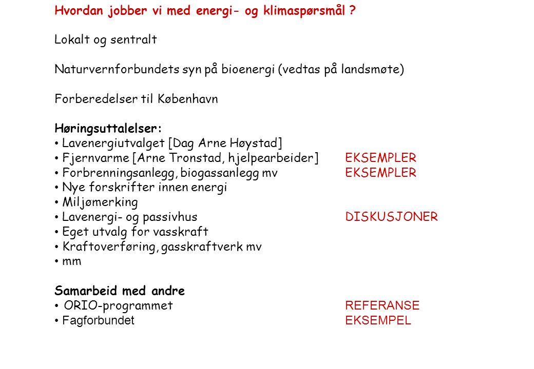 Hvordan jobber vi med energi- og klimaspørsmål ? Lokalt og sentralt Naturvernforbundets syn på bioenergi (vedtas på landsmøte) Forberedelser til Køben