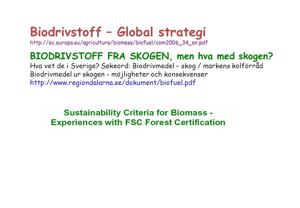 BIODRIVSTOFF FRA SKOGEN, men hva med skogen? Hva vet de i Sverige? Søkeord: Biodrivmedel – skog / markens kolförråd Biodrivmedel ur skogen - möjlighet