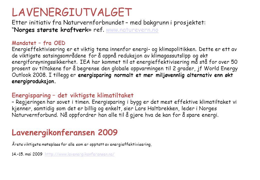 """LAVENERGIUTVALGET Etter initiativ fra Naturvernforbnundet – med bakgrunn i prosjektet: """"Norges største kraftverk» ref. www.naturevern.nowww.naturevern"""