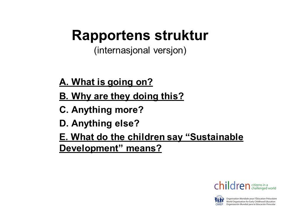 Rapportens struktur (internasjonal versjon) A.What is going on.