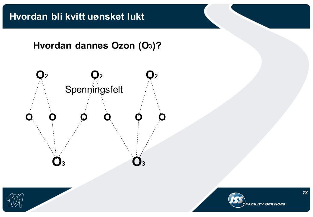 13 Hvordan bli kvitt uønsket lukt Hvordan dannes Ozon (O 3 )? O 2 O 2 O 2 Spenningsfelt O O O O O O O 3 O 3