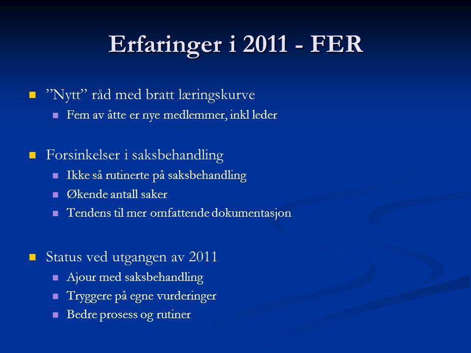 """Erfaringer i 2011 - FER   """"Nytt"""" råd med bratt læringskurve   Fem av åtte er nye medlemmer, inkl leder   Forsinkelser i saksbehandling   Ikke"""