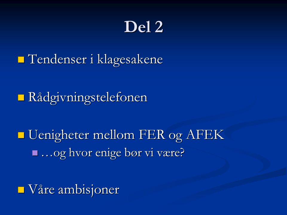 Del 2  Tendenser i klagesakene  Rådgivningstelefonen  Uenigheter mellom FER og AFEK  …og hvor enige bør vi være?  Våre ambisjoner