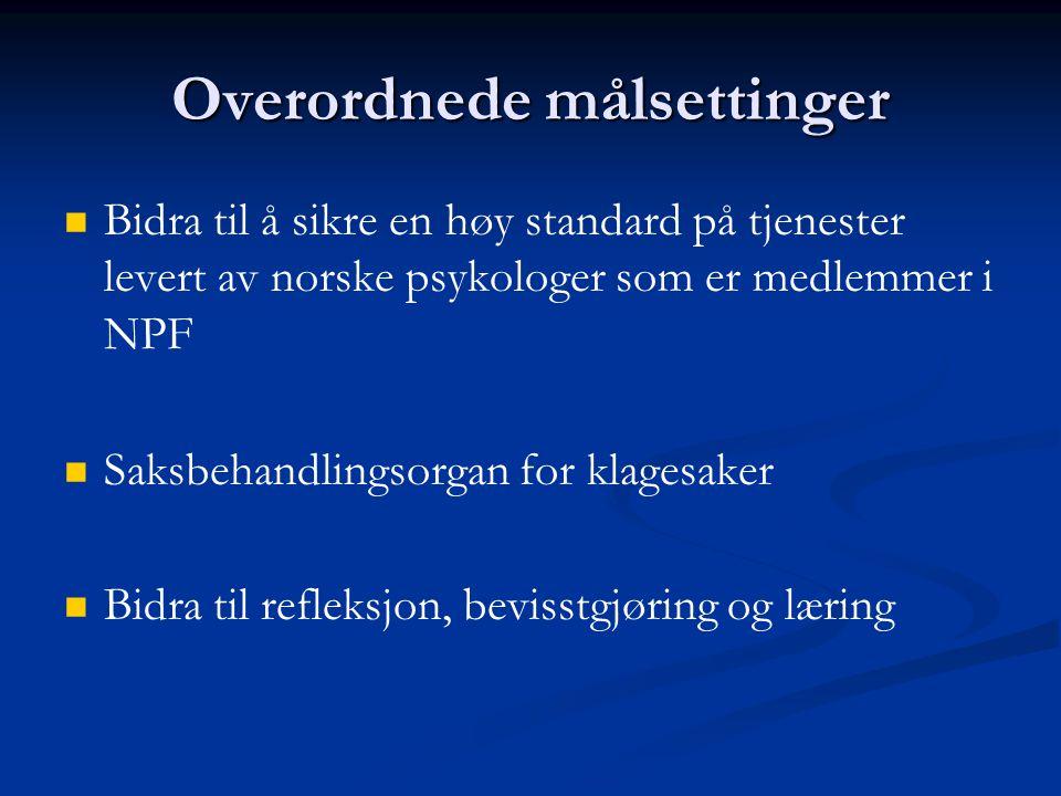 Overordnede målsettinger   Bidra til å sikre en høy standard på tjenester levert av norske psykologer som er medlemmer i NPF   Saksbehandlingsorga