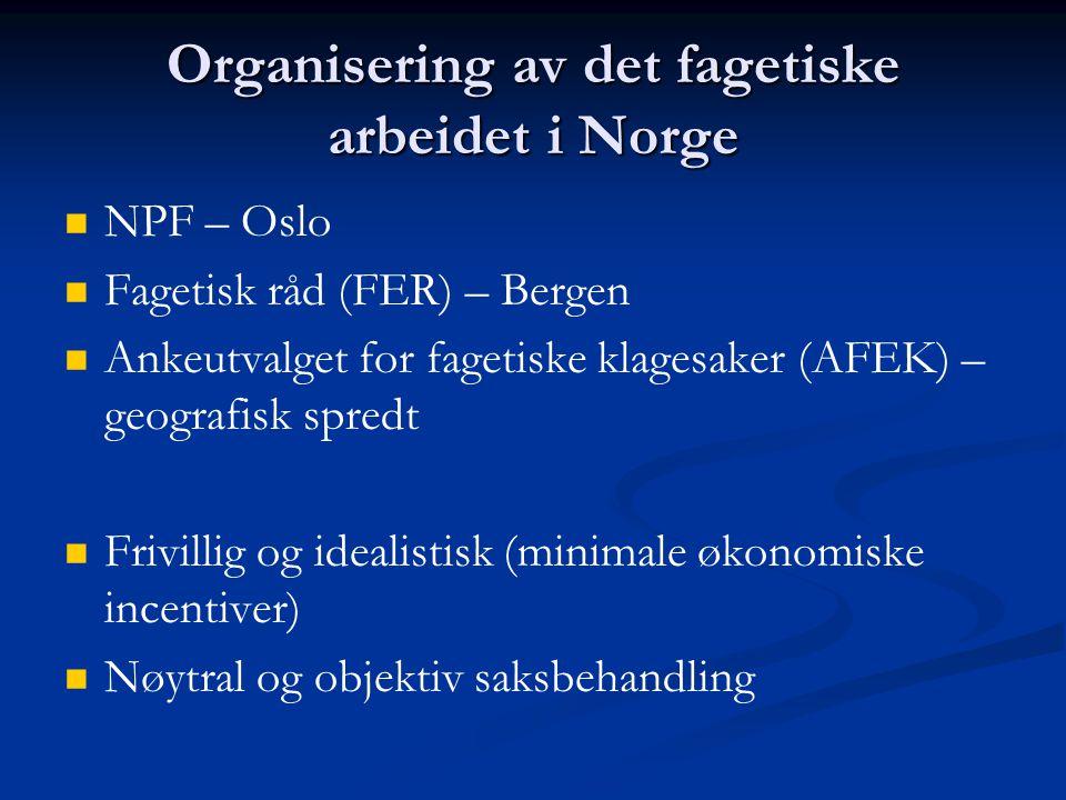 Organisering av det fagetiske arbeidet i Norge   NPF – Oslo   Fagetisk råd (FER) – Bergen   Ankeutvalget for fagetiske klagesaker (AFEK) – geogr