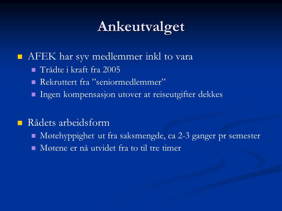 """Ankeutvalget   AFEK har syv medlemmer inkl to vara   Trådte i kraft fra 2005   Rekruttert fra """"seniormedlemmer""""   Ingen kompensasjon utover at"""