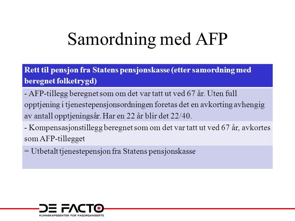 Samordning med AFP Rett til pensjon fra Statens pensjonskasse (etter samordning med beregnet folketrygd) - AFP-tillegg beregnet som om det var tatt ut ved 67 år.