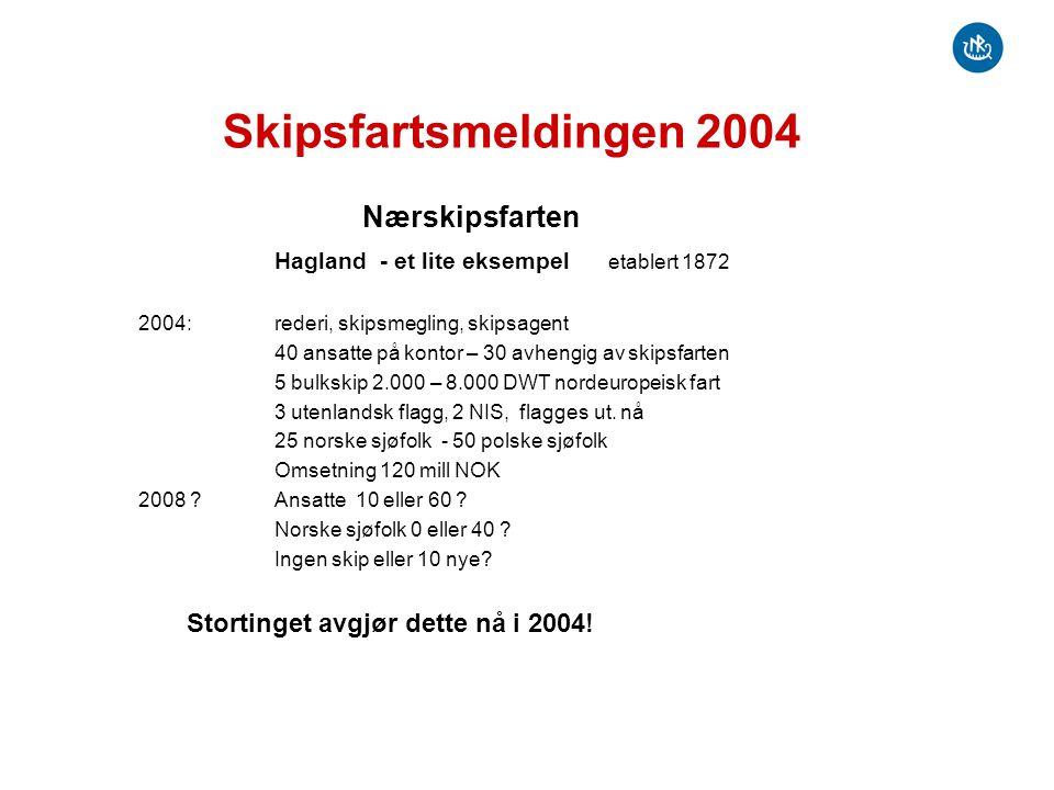 Skipsfartsmeldingen 2004 Nærskipsfarten Hagland - et lite eksempel etablert 1872 2004: rederi, skipsmegling, skipsagent 40 ansatte på kontor – 30 avhe