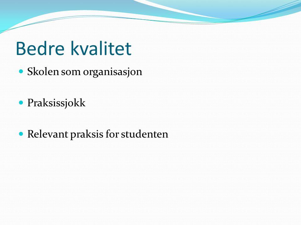 Bedre kvalitet  Skolen som organisasjon  Praksissjokk  Relevant praksis for studenten