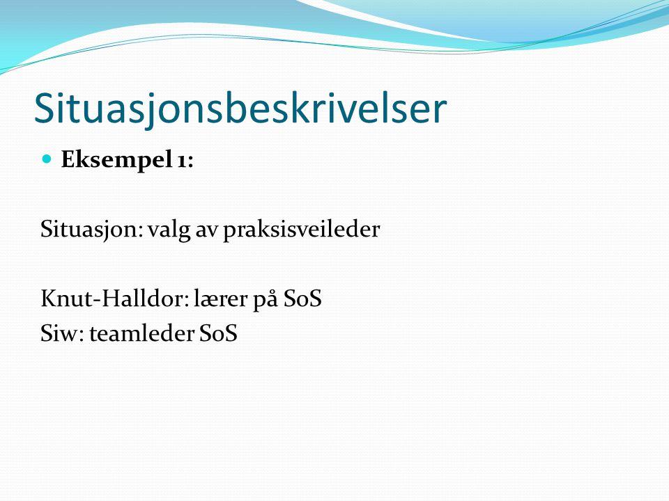 Situasjonsbeskrivelser  Eksempel 1: Situasjon: valg av praksisveileder Knut-Halldor: lærer på SoS Siw: teamleder SoS
