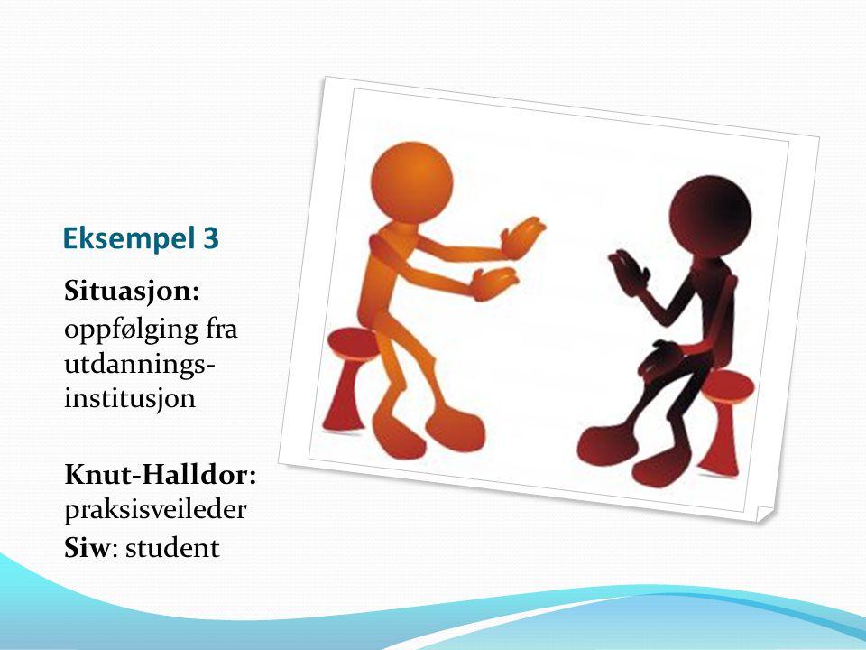 Eksempel 3 Situasjon: oppfølging fra utdannings- institusjon Knut-Halldor: praksisveileder Siw: student