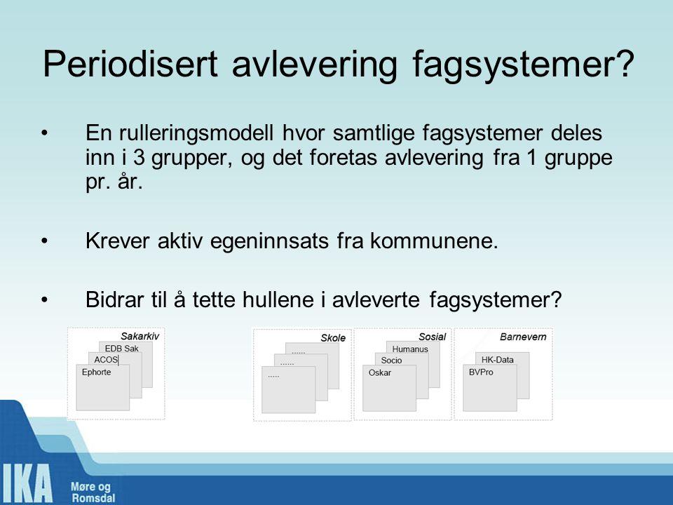 Periodisert avlevering fagsystemer? •En rulleringsmodell hvor samtlige fagsystemer deles inn i 3 grupper, og det foretas avlevering fra 1 gruppe pr. å