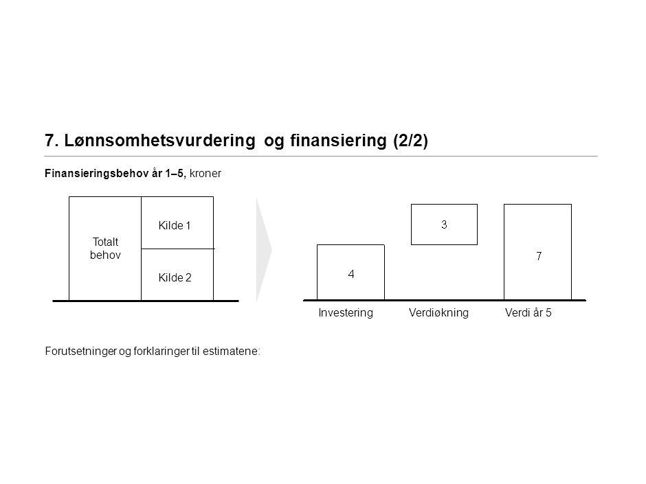 7. Lønnsomhetsvurdering og finansiering (2/2) Finansieringsbehov år 1–5, kroner Forutsetninger og forklaringer til estimatene: Totalt behov Kilde 1 Ki