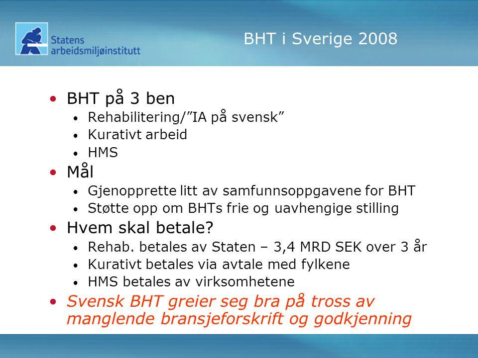 BHT i Sverige 2008 •BHT på 3 ben • Rehabilitering/ IA på svensk • Kurativt arbeid • HMS •Mål • Gjenopprette litt av samfunnsoppgavene for BHT • Støtte opp om BHTs frie og uavhengige stilling •Hvem skal betale.