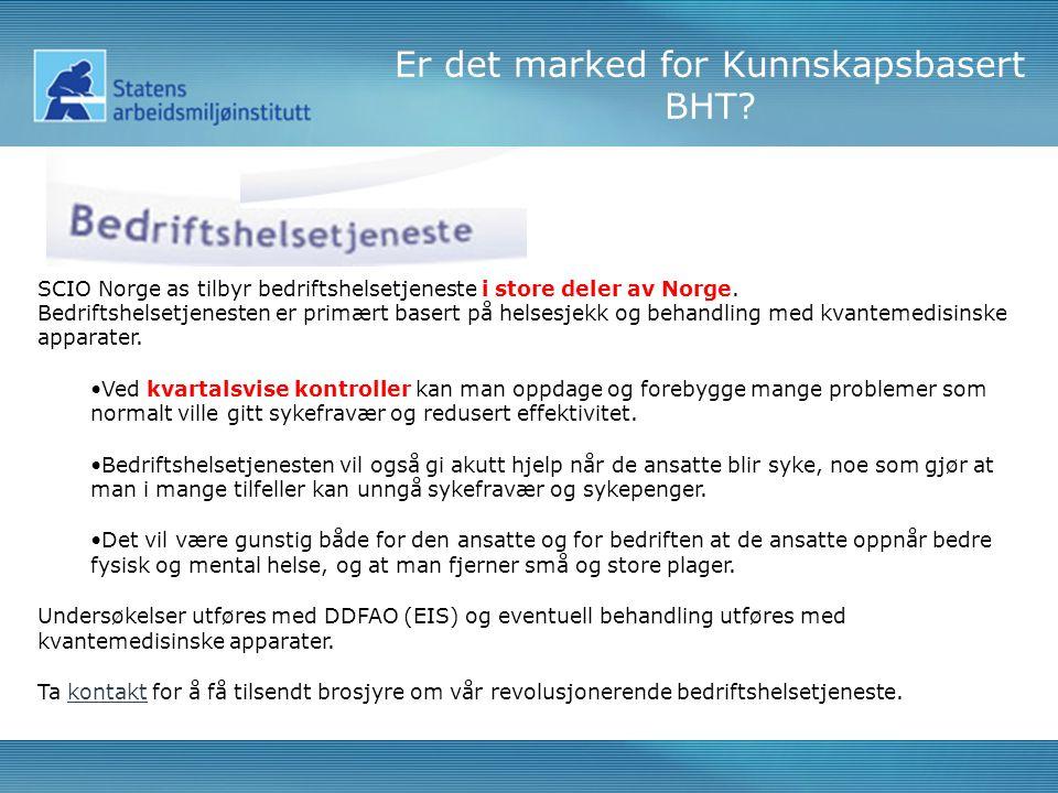 SCIO Norge as tilbyr bedriftshelsetjeneste i store deler av Norge.