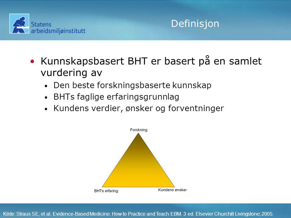 Definisjon •Kunnskapsbasert BHT er basert på en samlet vurdering av • Den beste forskningsbaserte kunnskap • BHTs faglige erfaringsgrunnlag • Kundens verdier, ønsker og forventninger Kilde: Straus SE, et al.