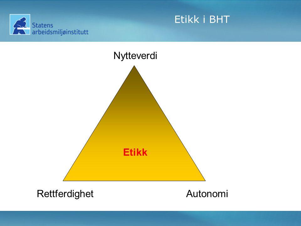 Etikk Nytteverdi RettferdighetAutonomi Etikk i BHT