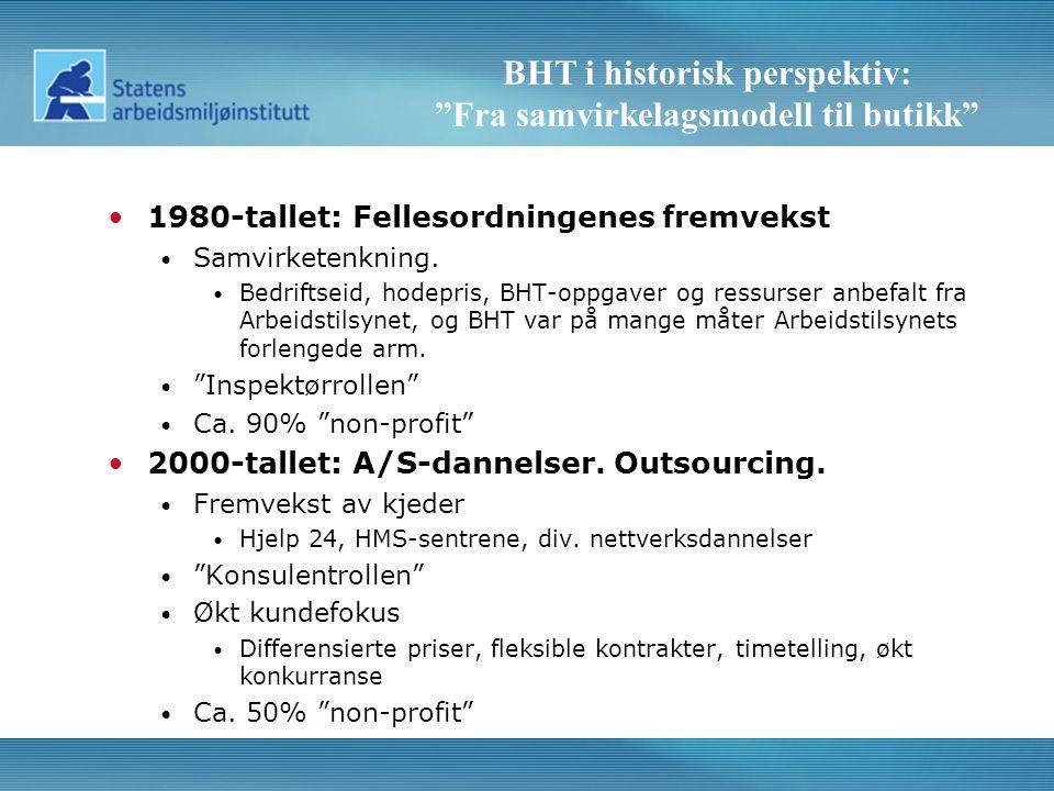 BHT i historisk perspektiv: Fra samvirkelagsmodell til butikk •1980-tallet: Fellesordningenes fremvekst • Samvirketenkning.