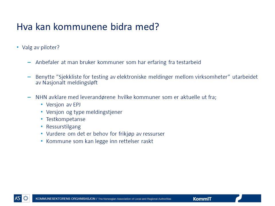 """KommIT Hva kan kommunene bidra med? • Valg av piloter? – Anbefaler at man bruker kommuner som har erfaring fra testarbeid – Benytte """"Sjekkliste for te"""
