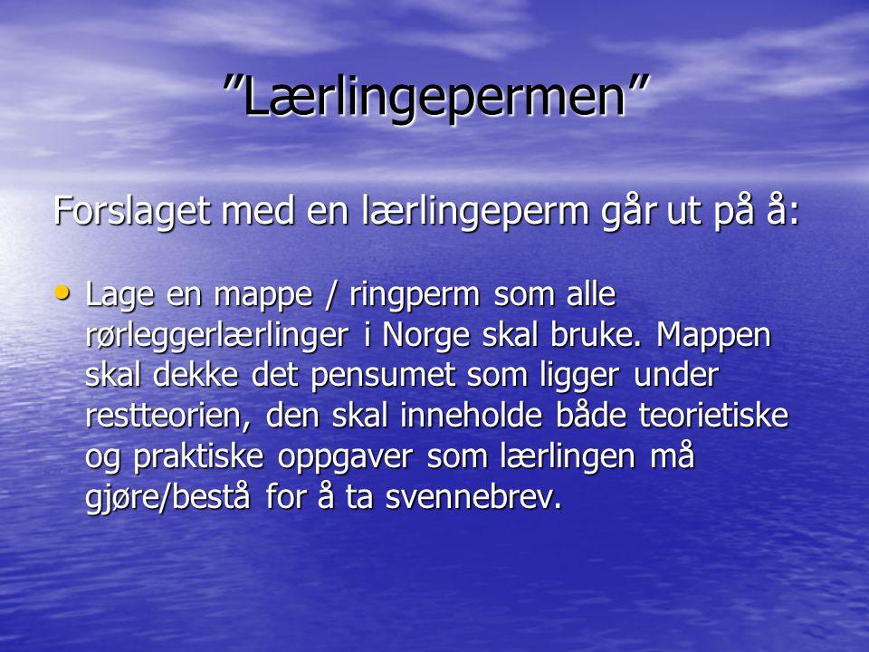 """""""Lærlingepermen"""" Forslaget med en lærlingeperm går ut på å: • Lage en mappe / ringperm som alle rørleggerlærlinger i Norge skal bruke. Mappen skal dek"""