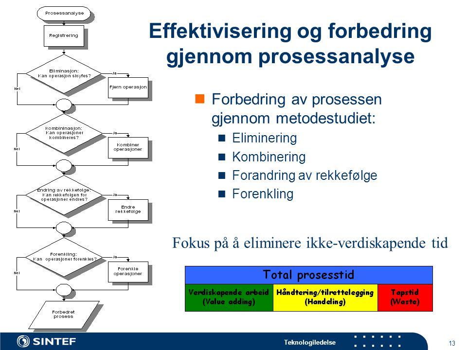 Teknologiledelse 13  Forbedring av prosessen gjennom metodestudiet:  Eliminering  Kombinering  Forandring av rekkefølge  Forenkling Effektivisering og forbedring gjennom prosessanalyse Fokus på å eliminere ikke-verdiskapende tid