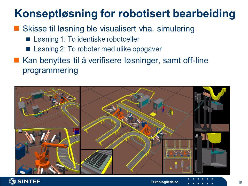 Teknologiledelse 18 Konseptløsning for robotisert bearbeiding  Skisse til løsning ble visualisert vha.