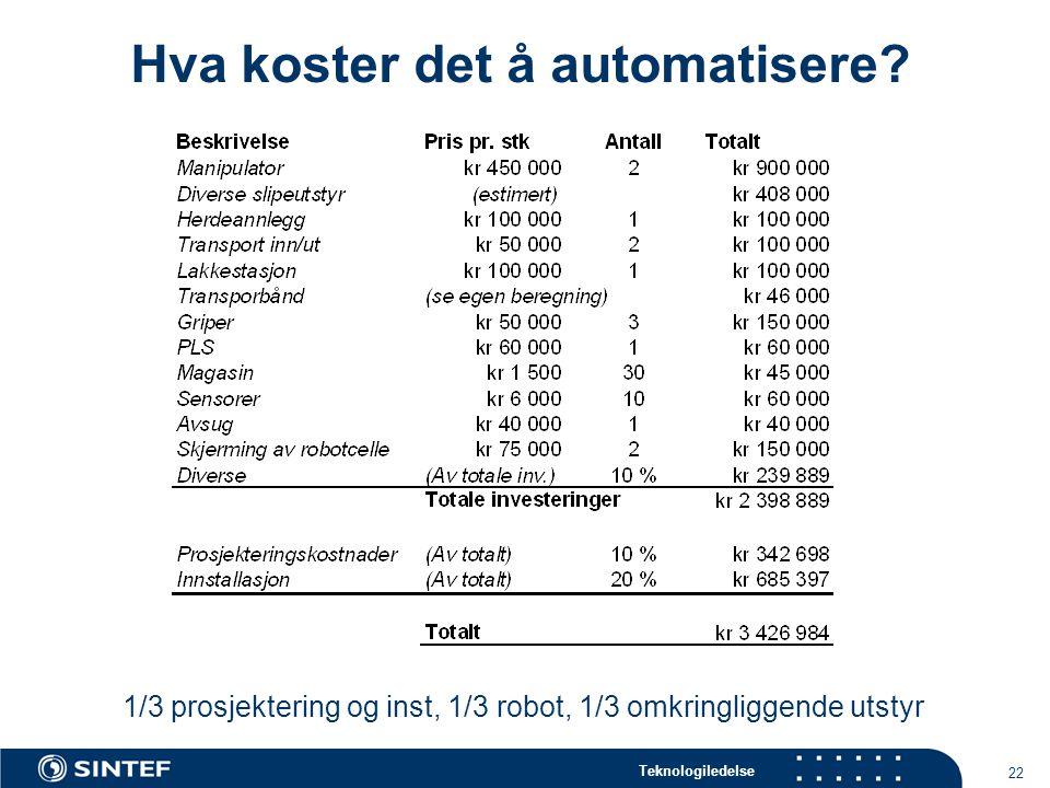 Teknologiledelse 22 Hva koster det å automatisere.