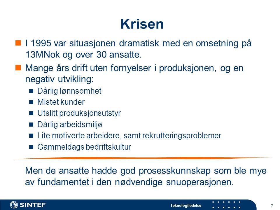 Teknologiledelse 7 Krisen  I 1995 var situasjonen dramatisk med en omsetning på 13MNok og over 30 ansatte.