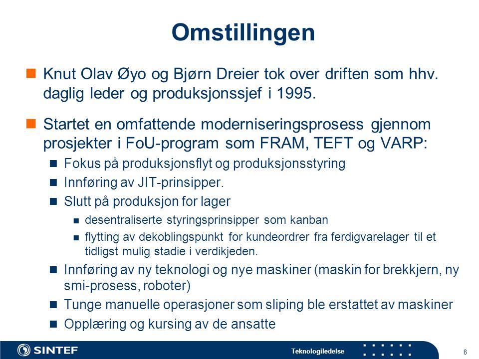 Teknologiledelse 8 Omstillingen  Knut Olav Øyo og Bjørn Dreier tok over driften som hhv.