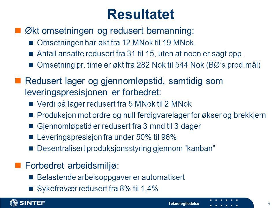 Teknologiledelse 9 Resultatet  Økt omsetningen og redusert bemanning:  Omsetningen har økt fra 12 MNok til 19 MNok.