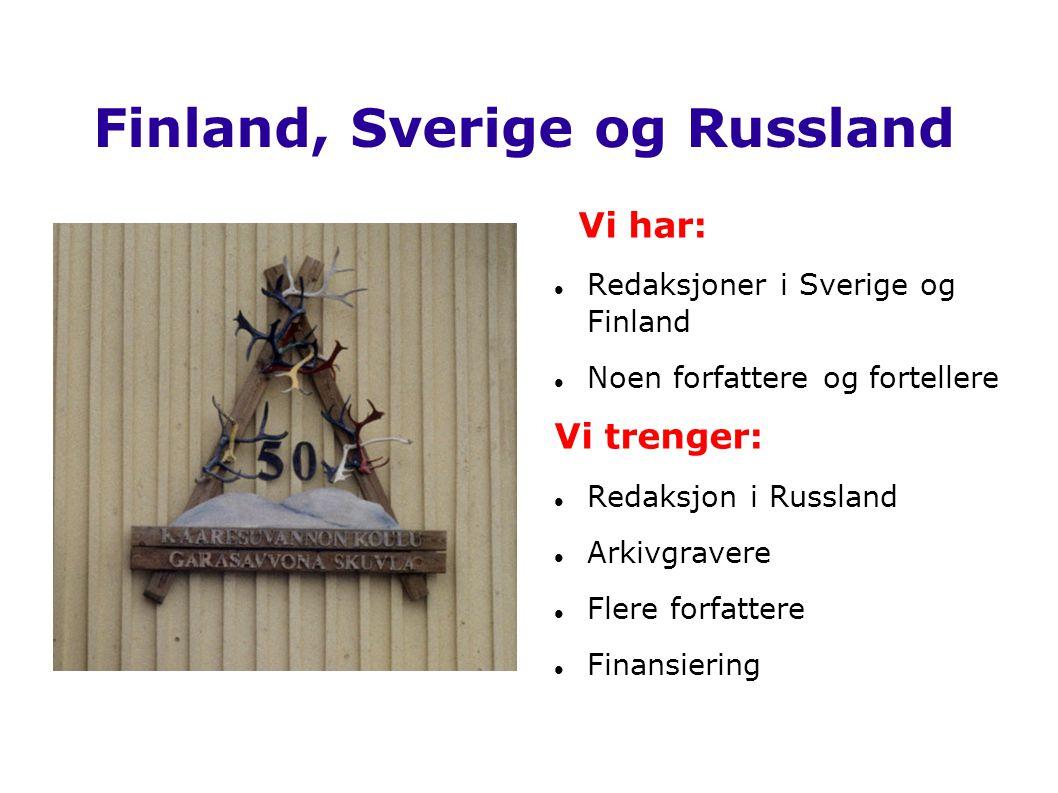 Finland, Sverige og Russland Vi har:  Redaksjoner i Sverige og Finland  Noen forfattere og fortellere Vi trenger:  Redaksjon i Russland  Arkivgrav
