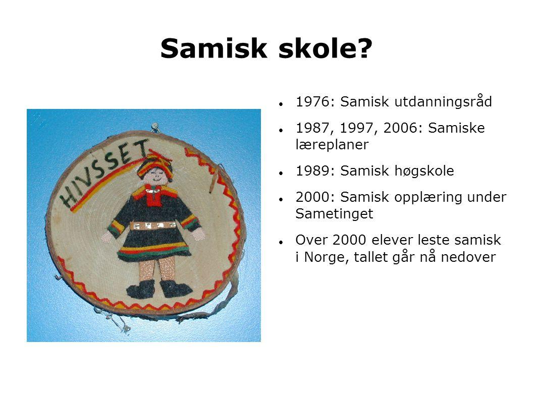 Samisk skole?  1976: Samisk utdanningsråd  1987, 1997, 2006: Samiske læreplaner  1989: Samisk høgskole  2000: Samisk opplæring under Sametinget 