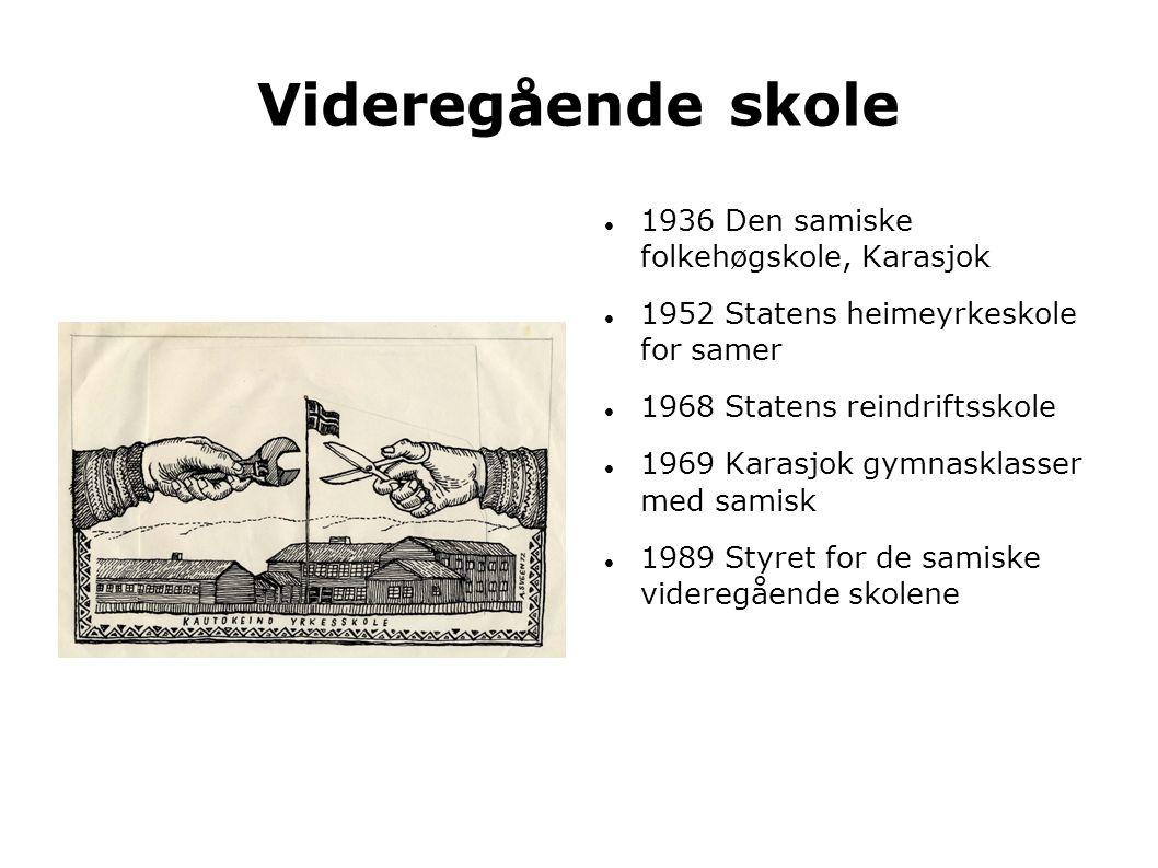 Videregående skole  1936 Den samiske folkehøgskole, Karasjok  1952 Statens heimeyrkeskole for samer  1968 Statens reindriftsskole  1969 Karasjok g