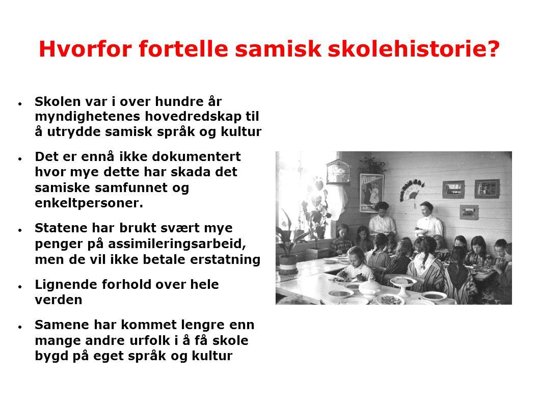Resultat av fornorskinga  Samiskspråklige over 40-50 år kan ikke skrive morsmålet sitt  Nesten alle samiske foreldre i sør- og lulesamiske områder, Troms og kyst-Finnmark snakka norsk til sine barn  Nå kan omtrent 75% av samene ikke samisk  Omlag 50% av dem som kan samisk kan et annet språk bedre  Mange vil ikke lenger være samer