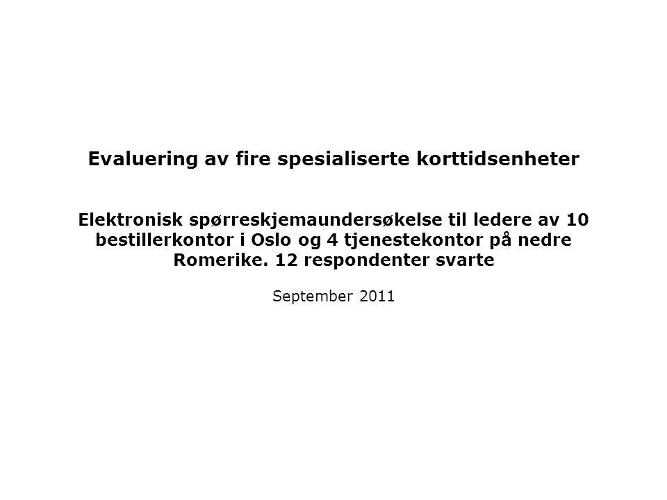 Evaluering av fire spesialiserte korttidsenheter Elektronisk spørreskjemaundersøkelse til ledere av 10 bestillerkontor i Oslo og 4 tjenestekontor på nedre Romerike.